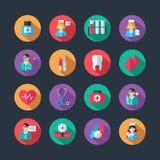 Iconos médicos y avatares del doctor fijados Foto de archivo libre de regalías