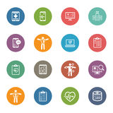 Iconos médicos y de la atención sanitaria fijados Diseño plano Fotos de archivo libres de regalías