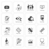 Iconos médicos y de la atención sanitaria fijados Diseño plano Fotos de archivo