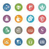 Iconos médicos y de la atención sanitaria fijados Diseño plano Imagenes de archivo