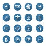 Iconos médicos y de la atención sanitaria fijados Diseño plano Sombra larga Foto de archivo libre de regalías