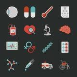 Iconos médicos y de la salud con el fondo negro Imagenes de archivo