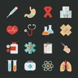 Iconos médicos y de la salud con el fondo negro Foto de archivo libre de regalías