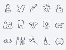 Iconos médicos y del cuidado médico stock de ilustración
