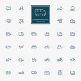 32 iconos mínimos del esquema del transporte Fotografía de archivo