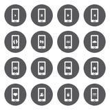 Iconos móviles blancos del vector fijados Fotografía de archivo