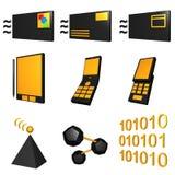 Iconos móviles de la industria de las telecomunicaciones fijados - Bla Imagen de archivo