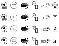 iconos móviles de la red de 2G 3G 4G Fotografía de archivo libre de regalías