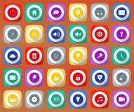 Iconos móviles 1 de las sombras largas planas Fotografía de archivo