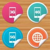 Iconos móviles de las telecomunicaciones 3G, 4G y 5G Imagen de archivo