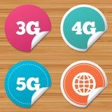 Iconos móviles de las telecomunicaciones 3G, 4G y 5G Foto de archivo