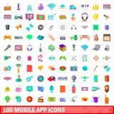 100 iconos móviles fijados, estilo del app de la historieta Imagen de archivo
