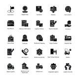 Iconos marginales de la entrega de la logística Foto de archivo libre de regalías