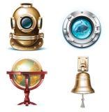 Iconos marinas del recorrido del vector. Parte 1 ilustración del vector