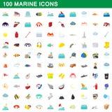 100 iconos marinos fijados, estilo de la historieta stock de ilustración