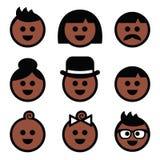 Iconos marrones, oscuros humanos del color de piel fijados Foto de archivo libre de regalías