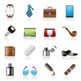 Iconos masculinos de los accesorios y de la ropa Fotos de archivo