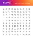 Iconos materiales de la comunicación y de la navegación del diseño fijados Fotografía de archivo