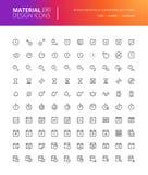 Iconos materiales de tiempo de diseño y de la fecha fijados Imagenes de archivo