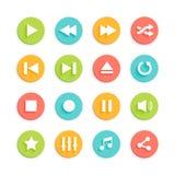 Iconos materiales del vector del diseño de Media Player fijados Imagen de archivo