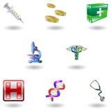 Iconos médicos brillantes Imagen de archivo
