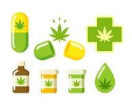 Iconos médicos de la marijuana Fotografía de archivo libre de regalías