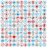 Iconos médicos fijados, sistema del vector de 144 muestras médicas y de la medicina Imagen de archivo