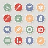 Iconos médicos redondos Ilustración del vector Imágenes de archivo libres de regalías
