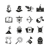 Iconos medievales del vector del cuento de la fantasía Magia del misterio y pictogramas del caballero ilustración del vector