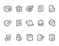 Iconos medios y de publicaciones Imagenes de archivo