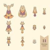 Iconos meditativos de los animales Imagenes de archivo