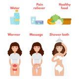 Iconos menstruales del dolor fijados Concepto del tratamiento del período ilustración del vector