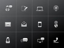 Iconos metálicos - comunicación Fotografía de archivo