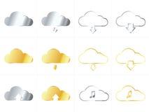 Iconos metálicos de la nube Imagen de archivo