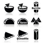Iconos mexicanos de la comida - tacos, nachos, burrito, quesadilla Imagenes de archivo