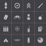 Iconos militares negros del vector fijados Fotografía de archivo libre de regalías