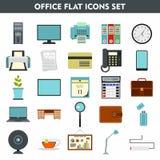 Iconos modernos de la historieta fijados del mobiliario de oficinas Imágenes de archivo libres de regalías