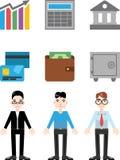 Iconos modernos de las finanzas, ejemplos del vector Fotos de archivo libres de regalías