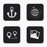 Iconos modernos del viaje del vector fijados Imagenes de archivo