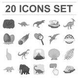 Iconos monocromáticos de diversos dinosaurios en la colección del sistema para el diseño Web animal prehistórico de la acción del libre illustration