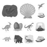 Iconos monocromáticos de diversos dinosaurios en la colección del sistema para el diseño Web animal prehistórico de la acción del stock de ilustración