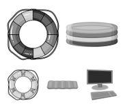 Iconos monocromáticos del círculo multicolor de la natación en la colección del sistema para el diseño Diverso web de la acción d Fotografía de archivo libre de regalías