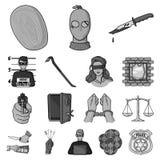Iconos monocromáticos del crimen y del castigo en la colección del sistema para el diseño Ejemplo criminal del web de la acción d libre illustration