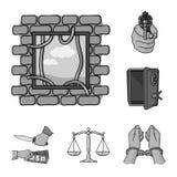 Iconos monocromáticos del crimen y del castigo en la colección del sistema para el diseño Ejemplo criminal del web de la acción d ilustración del vector