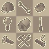 Iconos monocromáticos de la construcción Foto de archivo libre de regalías