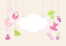 Iconos muchacha del bebé de la tarjeta y fondo Dots Beige de la nube libre illustration