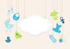 Iconos muchacho del bebé de la tarjeta y fondo Dots Beige de la nube libre illustration