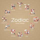 Iconos multicolores del símbolo del zodiaco Foto de archivo libre de regalías