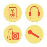 Iconos musicales planos fijados en el fondo blanco Foto de archivo libre de regalías