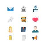 Iconos móviles del app del sitio web del vector del correo electrónico del calor plano de la escuela Fotos de archivo libres de regalías